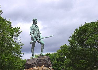 Statue of  Captain John Parker  and Hayes Memorial Fountain, on Lexington Common, by H.H. Kitson. Lexington and Concord were, of course, where the American Revolutionary War got going in earnest.
