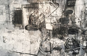 """Invisible Energy'' (ink, charcoal and gesso on Tyvek), by Barbara Moody, in her show ""New Work,'' at Kingston Gallery, Boston, Jan, 3-28. The gallery says that she's interested in visual complexity and the contrast between density and open space."