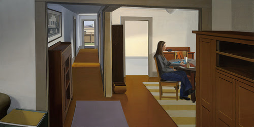 """""""The Quilter's Daughter, 2012-14'' (oil on linen), by Christopher W. Benson, in the show """"Pictures & Windows: The Paintings of Christopher W. Benson from 1975 to 2017,'' at the Newport Art Museum, through Dec. 31. The museum says his scenes are like a less dramatic version of Norman Rockwell's works, showing snapshots of American life that might help show what we have in common in a deeply divided nation ."""