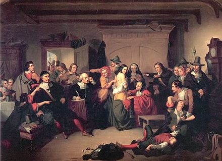 """""""Examination of a Witch''(1853,) by  T. H. Matteson , inspired by the Salem trials."""