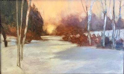 """""""Winter Light"""" (oil on board), by Julia Purinton, at Alpers Fine Art, Andover, Mass."""