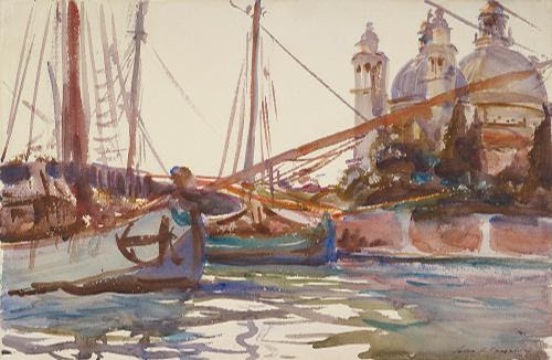 """""""Santa Maria Della Salute, Venice,"""" (1903-1907,watercolor on paper), by John Singer Sargent, in the show """"Henry James and American Painting,'' at the Isabella Stewart Gardner Museum, Boston, through Jan. 21.    The museum (sadly now most famous as the victim of the biggest art theft in history) comments:    """"Henry James (1843-1916) was an American writer who is considered to be one of the greatest novelists in the English language. His literary work includes such well-known and beloved novels as  Portrait of a Lady and  The Ambassadors . What one may not know is that he held close relationships with several artists of his day, including the Italian-born painter John Singer Sargent (1856- 1925 ).''     James spent much of his later life living in England but before then lived in Boston and Newport, R.I., among other places. Sargent's father was from Gloucester, Mass."""