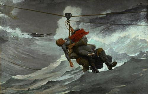 """""""The Life Line, 1884 (oil on canvas), by Winslow Homer, in the show """"Coming Away: Winslow Homer and England,'' at the Worcester Art Museum, through Feb. 4. Of course he was most famous for his paintings of New England scenes."""