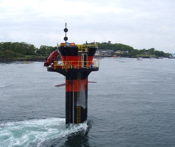 The world's first commercial-scale and grid-connected tidal stream generator –  SeaGen  – in  Strangford Lough , Northern Ireland. The  wake  shows the  tidal current 's power.