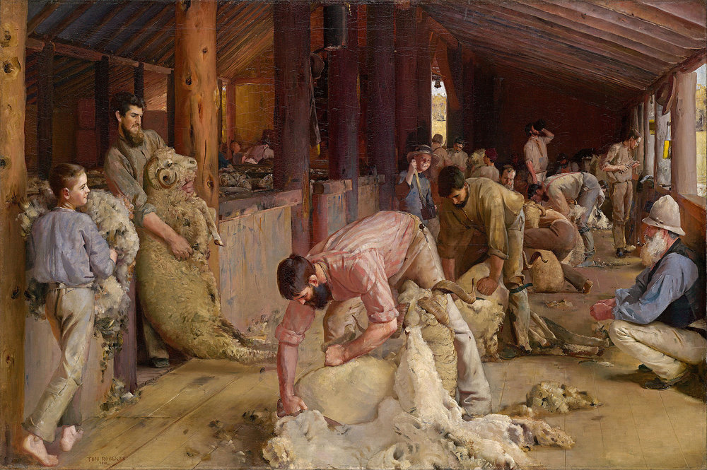 """""""Shearing the Rams,'' by Tom Roberts (1890)."""