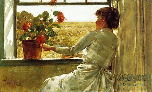 """""""Summer Evening'' (oil on canvas) ,  by  Childe Hassam , 1886. Collection of the Florence Griswold Museum."""