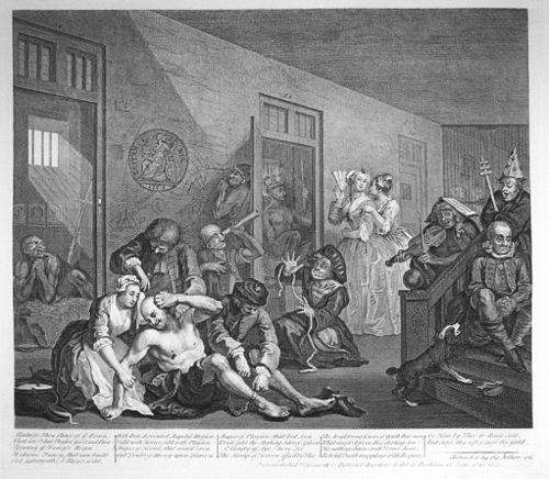 Print of Willam Hogarth image depicting Bedlam Asylum, in London.