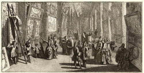 """Exhibition of the Royal Academy of Painting and Sculpture in the Grand Gallery of the Louvre, 1699'' (engraving), by A. Hadamart, in the show   ""Modernity vs. Tradition: Art at the Parisian Salon 1750-1900,""   at the Redwood Library and Athenaeum, Newport, through April   8. The   Salon is an annual art exhibition started by the French Royal Academy of Painting and Sculpture  to foster artistic competition and let  common folk critically view and analyze the work of its Academicians. By the mid-18th Century, it had become a public forum for intense debate on  art and politics."