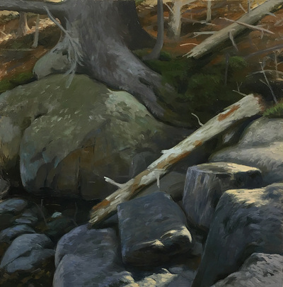 """Shadow Ledge,'' by James Mullen, at Alpers Fine Art, Andover, Mass."