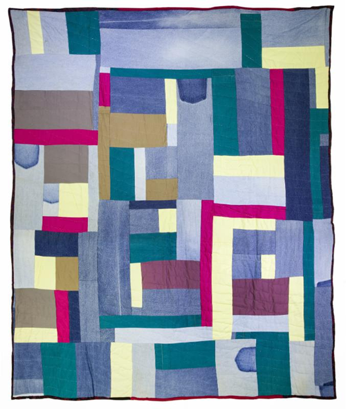 """""""Ghost Pockets,"""" (  mixed fabrics, including denim, cotton, polyester and synthetic wool) ,  by    Mary Lee Bendolph,    in her show   """" Piece Together: The Quilts of Mary Lee Bendolph""""   through May 27, at the Mount Holyoke College Art Museum, South Hadley, Mass. The museum says that  Bendolph has made more than 150 quilts in her lifetime, """"adapting traditional African-American designs to create beautiful and functional works of art that have been featured in Hallmark cards and American postage stamps.''    There's long been a deep interest in folk crafts in Mount Holyoke's region of western Massachusetts."""