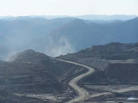 Removing the top of a mountain to mine for coal in Appalachia.