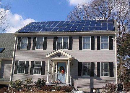 Solar panels in a Boston suburb.