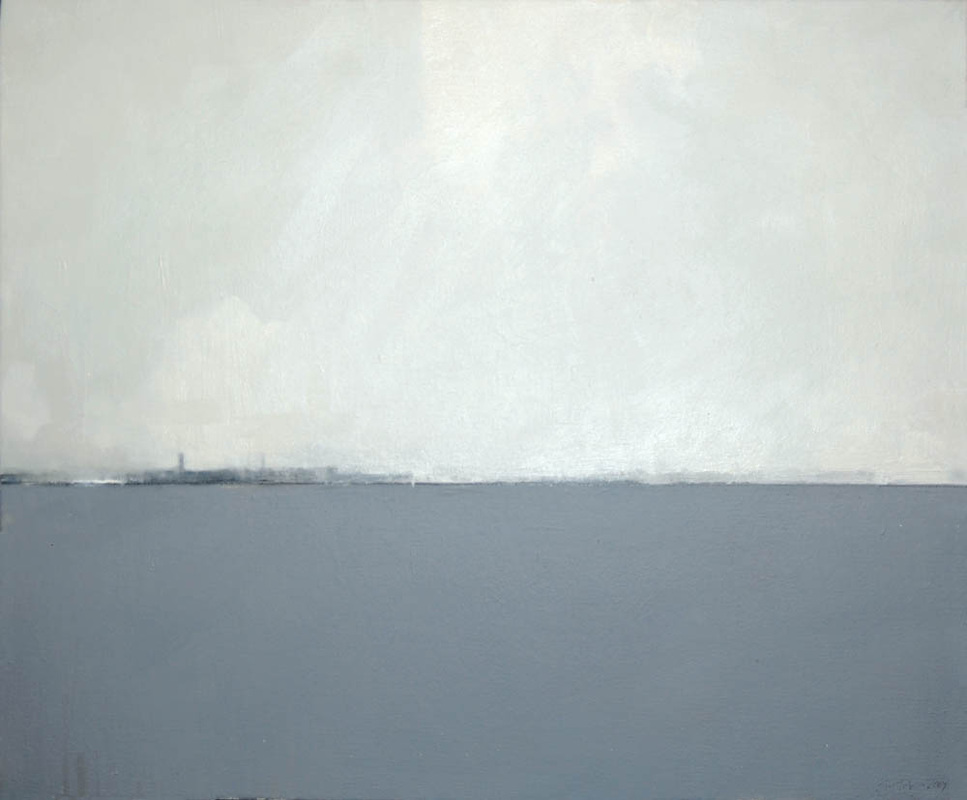 """Ocean State IV'' a wintry-looking oil on canvas), by Sean Thomas, at Alpers Fine Art, Andover, Mass. Rhode Island's nickname is ""The Ocean State,'' while Massachusetts is called ""The Bay State.'' A cursory look at a map would suggest that they should swamp nicknames."