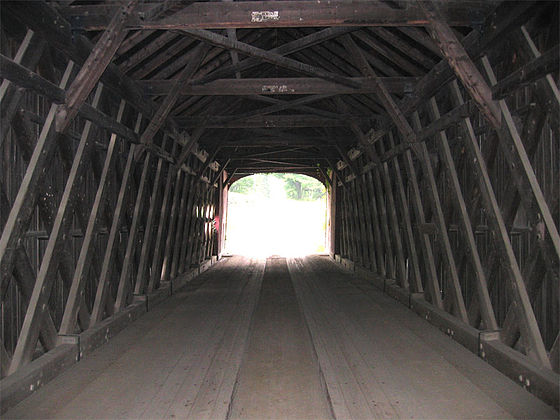 Plank-lattice truss  interior structure of Green River Bridge in Guilford, Vt.