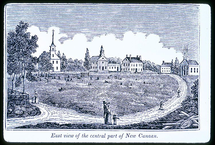 East view of Church Hill, the central part of New Canaan (1836), by  John Warner Barber