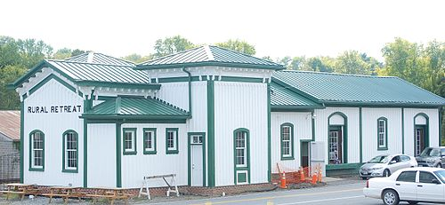 """The former railroad depot in Rural Retreat, Va., on our route. A lot of """"former'' this and that on our route."""