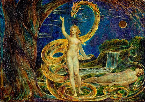 """Eve Tempted by the Serpent,.''   by  William Blake ."