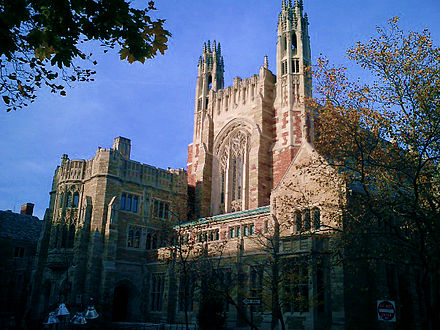 Yale Law School, in New Haven,one of the university's lovely neo-Gothic buildings.
