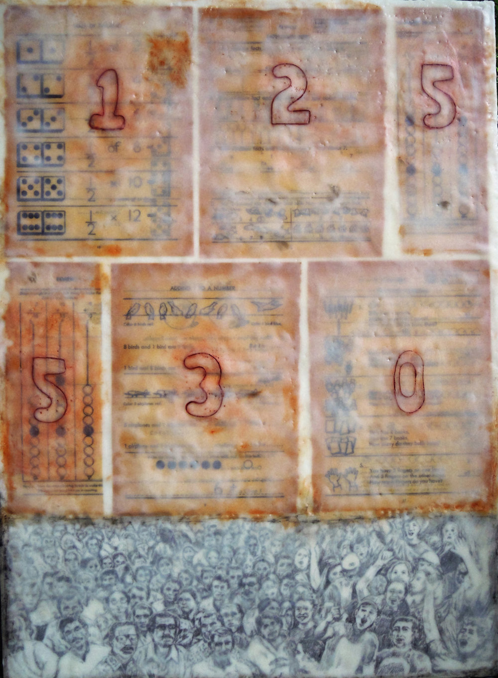 'Safety in Numbers'' (encaustic), by Nancy Whitcomb.