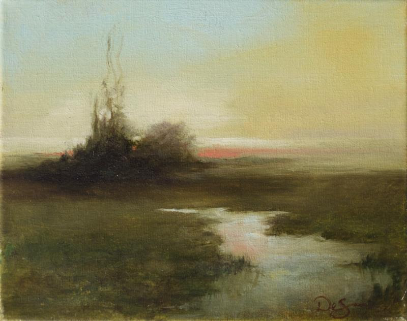 """""""Tranquil''   (oil), by Sandra DeSano Pezzullo,   at the Providence Art Club."""