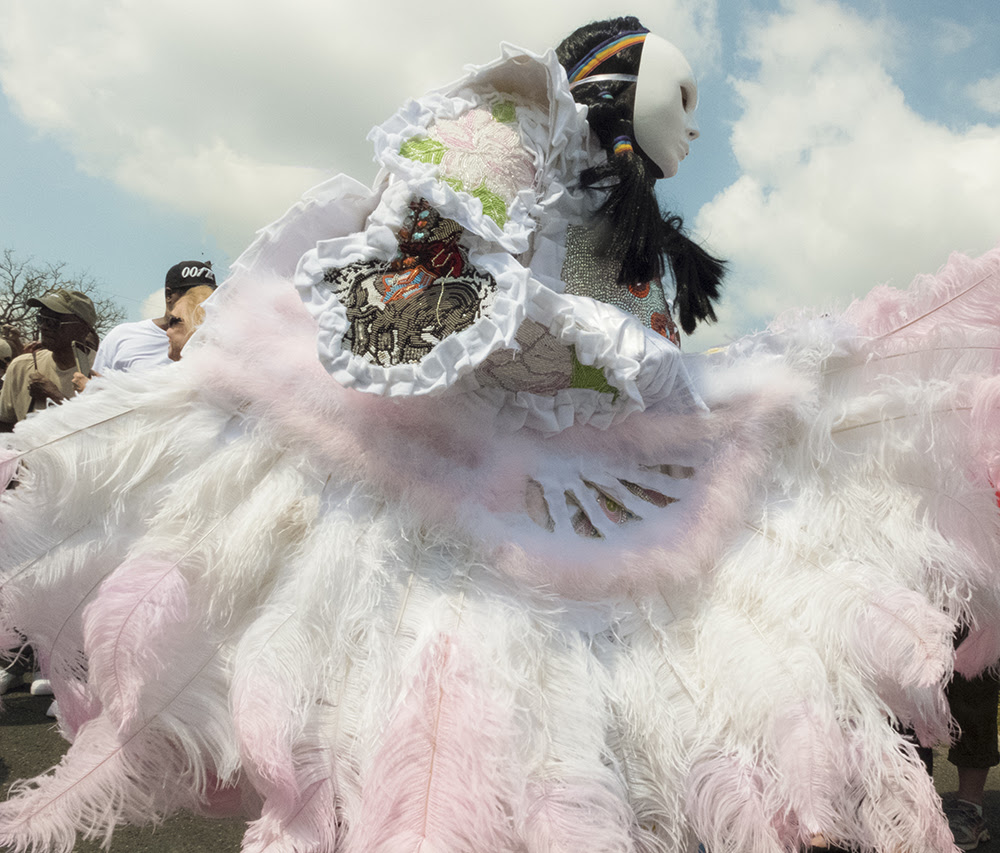 """""""White and Pink Feathers'' *(photo), by Max Stern , in the joint show with Robert Freeman called """"Mardi Gras Indians,'' at Adelson Galleries, Boston, March 2-April 29.    The gallery's owner, Adam Adelson says:  """"The photographs are more than documentation. Each image carefully captures the emotional expression of these subjects. Stern expertly focuses his lens towards plumes of feathers, beads, and a cacophony of assembled decorations that make up the elaborate garb worn by the Mardi Gras Indians of New Orleans. The figures are larger-than-life, and Stern makes it clear that the people he snapshots are just as important as the suits they inhabit. Freeman's paintings illustrate movement and energy while Stern's photography reveals the individuals that are responsible for this ritual and the intricacy of craftsmanship in their suits. ''"""