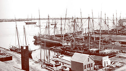 New Bedford Harbor in the late 19th Century, as the whaling boom disappeared.