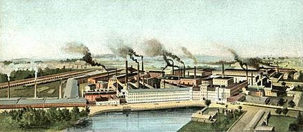 American Steel & Wire Company, circa 1905,  in Worcester. At its height, the company employed thousands.