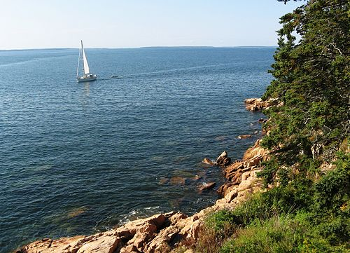 Summer sailing off Acadia National Park, in Downeast Maine. Actually,  pea soup fog is more common than blue sky in much of the summer on the Maine Coast.