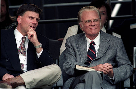 Billy Graham with his son Franklin in 1994.