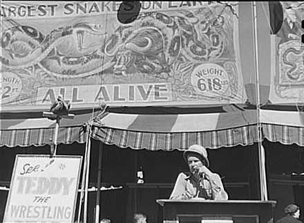Carnival barker at the Vermont State Fair in 1941.