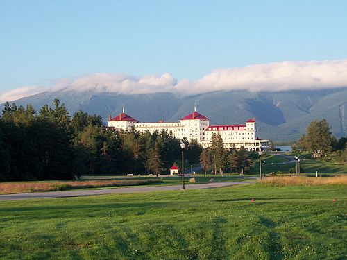 The Mount Washington Hotel, with the Presidential Range looming above.