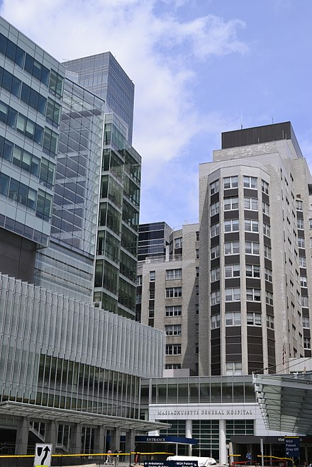 Main entrance of Massachusetts General Hospital, in Boston. MGH is the flagship of Partners HealthCare.