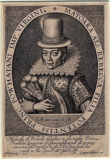 Portrait engraving done in 1616 of Pocahontas.