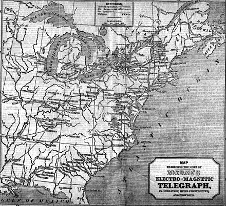 Jan.22, 1848 map in The New York Herald showing North American telegraph lines.