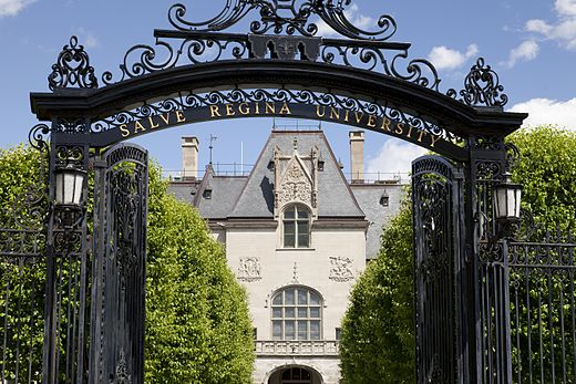 Entrance to  Ochre Court , Salve Regina University's first building. Salve is in the middle of the famous mansion district of Newport, R.I. (See Salve news below.)