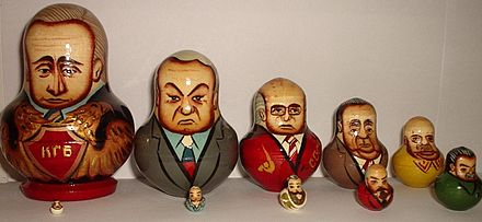 Russian nesting dolls; Vladimir Putin is the one on the far left.