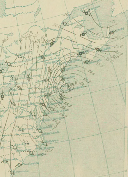 Surface analysis  of the  Great Blizzard of 1888 , which took place March 11-14. Areas with greater isobaric packing indicate higher winds. This remained New England's most famous snowstorm until the Blizzard of Feb. 6-7, 1978.
