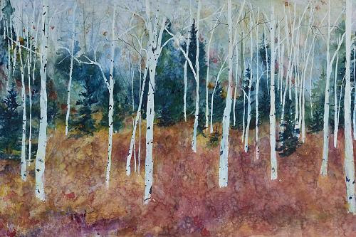 """Painting by Tamara Gonda in her joint show with Nancy French """"Windows to the Woods,'' April 6-May 5, at the Whitty Gallery in the Wild Salamander Creative Arts Center, Hollis, N.H.    The gallery says: """"The beauty of the natural world is not lost on these two artists. The peaceful wooded scenes painted by  Tamara Gonda are perfectly complemented by the graceful curved branches in the sculptural pieces hand crafted by  Nancy French . Celebrate spring with a visit to this exhibit.''"""