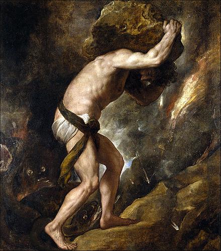 """""""Sisyphys''(1548–49), by  Titian ."""
