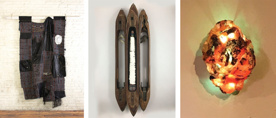 "Left to right: ""Bernie,'' by  Stacey Piwinski,  (hand-woven leather jacket and yarn); ""Remembrance: A Worker's Altarpiece'' (earthenware and found objects),  by Mary E. Carlisle; ""Beat,'' by Michael King (pill bottles, wood, LED lights), in the  group show ""Dialogues: Medium and Materiality,'' at the New Art Center, Newtonville, Mass., April 17-May 5.    The show features  sculpture, installation, video and painting by current students and alumni of the Lesley University MFA in Visual Arts program. It  examines, in the gallery's words, ""the significance that medium brings to an artist's intent and highlights the interdisciplinary aspect of the Lesley program, aiming to create a diverse platform representative of the contemporary arts discourse.''"