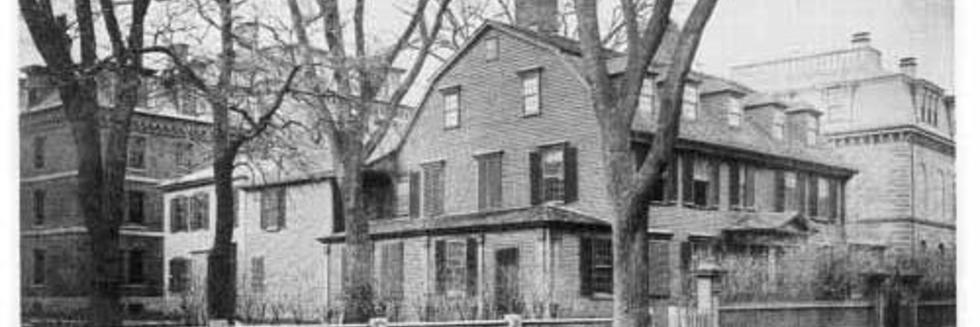 The Wadsworth House, in Cambridge, Mass., where George Washington really did sleep in the summer of 1775. This photo was taken in the 1870s. The house is still there, and is used for the office of Harvard's   University Marshal, commencement offices and offices of a few professors.