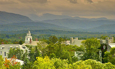 View of Middlebury College, in the quintessential college town of Middlebury, Vt.,  with the Green Mountains in the background.