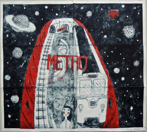 "''Metro"" (etching), by Mitsushige Nishiwaki, in his show ""Metropolitan Twist,'' at the Gurari Collections, Boston April 6-May 27.  He's a self-taught artist whose works have been shown in Japan, France, England and the United States. The busy streets of Paris, New York and London help inspire his work, which depicts the common motions of everyday life."