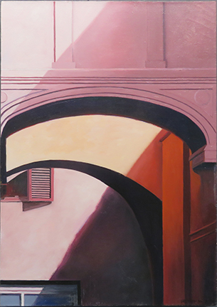 """""""Italy XIIISM,'' a painting by Gretchen Dow Simpson in her current show at Reliable Gold, in Providence.She is particularly celebrated for her crisp and close-up views of New England and other architecture, interior and exterior,and for her intense attention to proportion and lighting. She considers herself a """"painter with a photographer's eye,"""" and architectural forms have always drawn her.    She is also well known for the more than 50 covers she has done for The New Yorker magazine."""