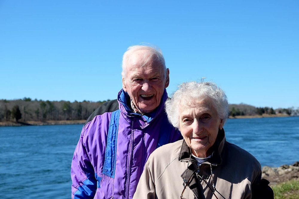 Caroline Mayer, with her husband, Ed, visits the Cape Cod Canal earlier this year. (Courtesy of Caroline Mayer)