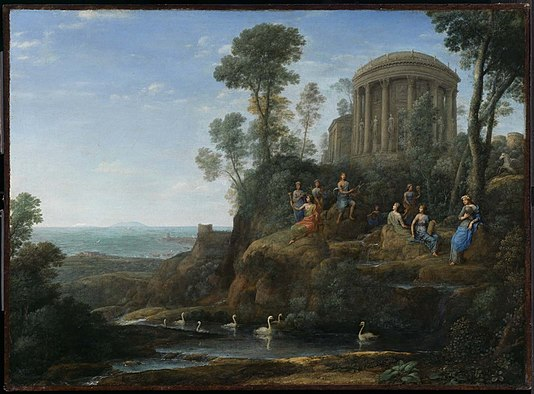 """Apollo and the Muses on Mount Helicon''   (1680), by Claude Lorrain."