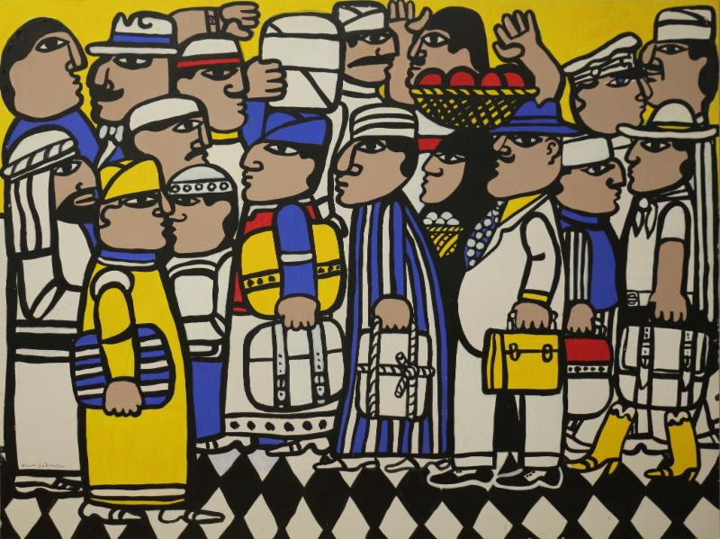 """""""Cairo Airport'' (acrylic, 1970's), by Morris Nathanson, in the show """"Morris Nathanson: Retrospective,'' at the Providence Art Club, May 12-June 1. The exhibition will include paintings, assemblages, works on paper and sculpture from throughout the career of the nationally known designer and artist."""
