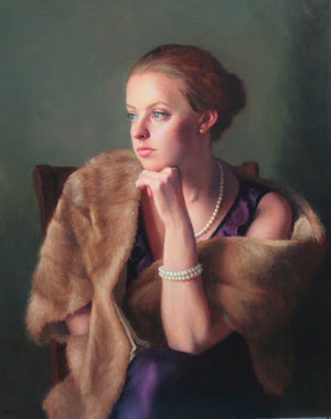 """""""The Mink Stole,'' by Alberta Geyer, in the """"2018 Members Juried Exhibition,'' at the Guild of Boston Artists, through June 2."""