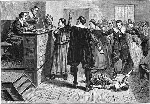The central figure in this 1876 illustration of the Salem Witch Trials courtroom is usually identified as  Mary Walcott .