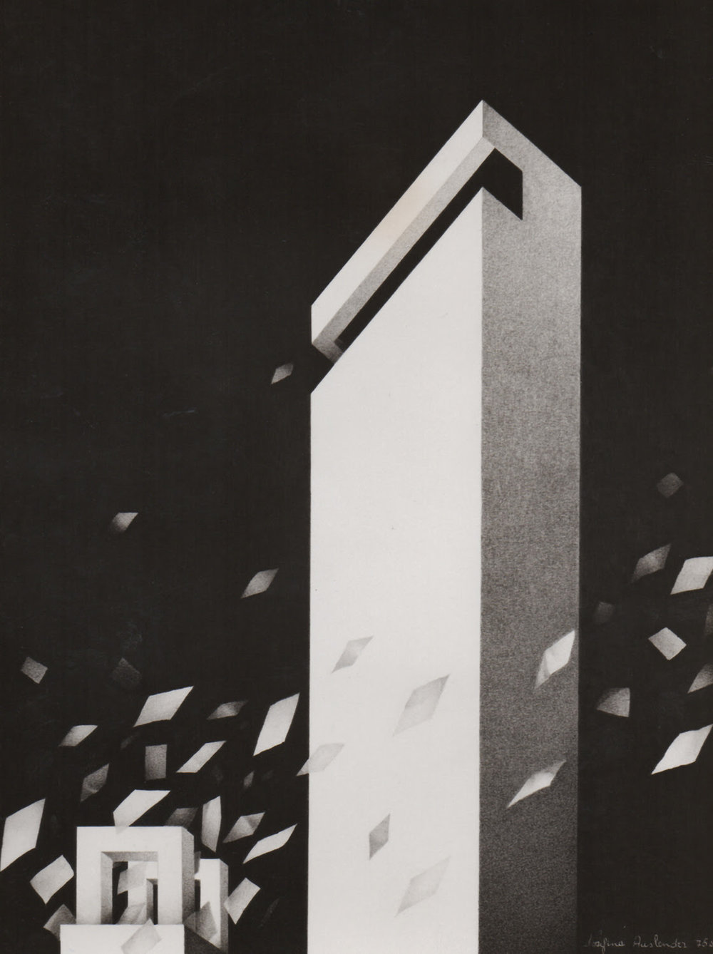 """""""The City"""" (graphite on paper), by Josefina Auslender, at Corey Daniels Gallery, Wells, Maine."""